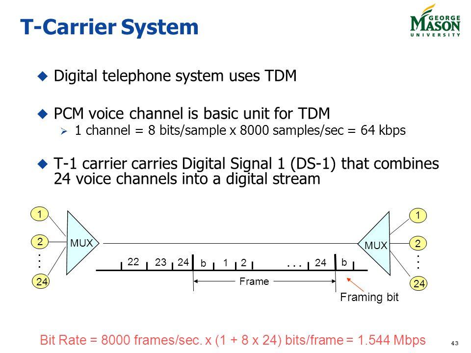 43 T-Carrier System Digital telephone system uses TDM PCM voice channel is basic unit for TDM 1 channel = 8 bits/sample x 8000 samples/sec = 64 kbps T