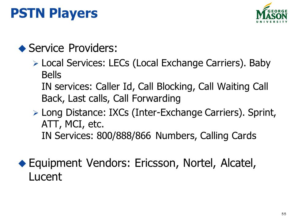 55 PSTN Players Service Providers: Local Services: LECs (Local Exchange Carriers).