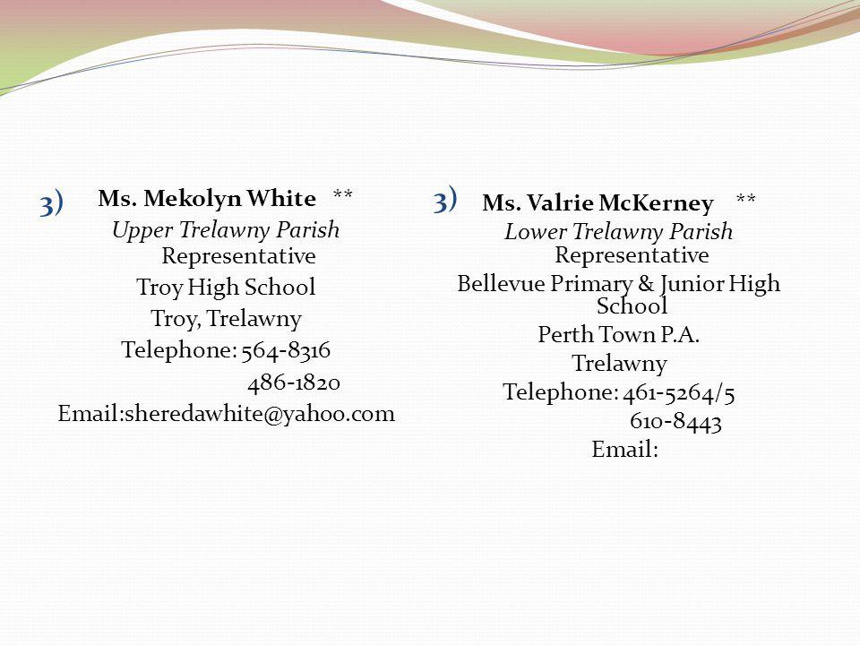 3) Ms. Mekolyn White ** Upper Trelawny Parish Representative Troy High School Troy, Trelawny Telephone: 564-8316 486-1820 Email:sheredawhite@yahoo.com