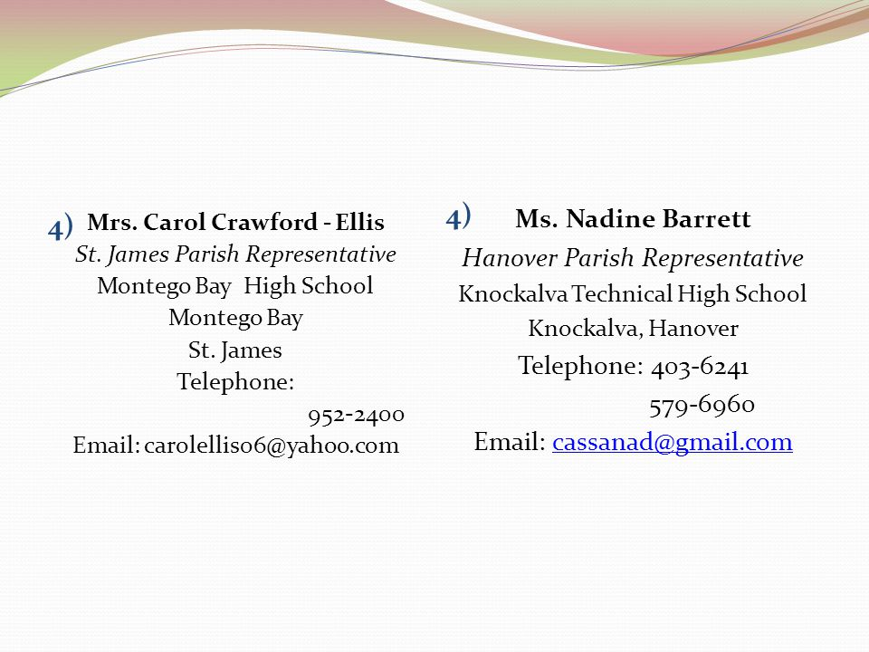 4) Mrs. Carol Crawford - Ellis St. James Parish Representative Montego Bay High School Montego Bay St. James Telephone: 952-2400 Email: carolellis06@y