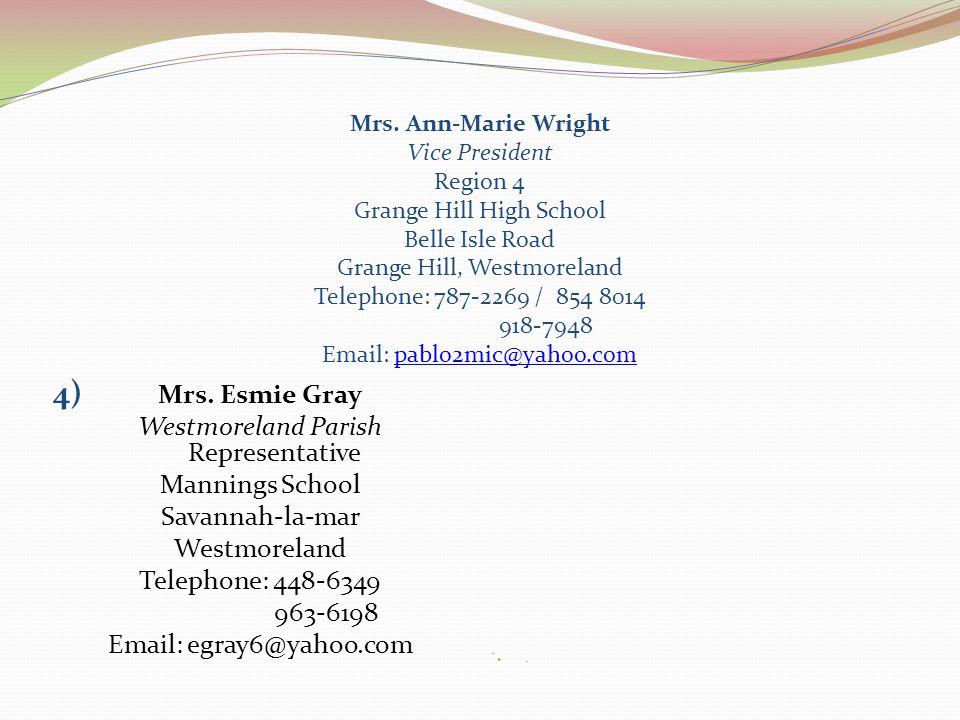 Mrs. Ann-Marie Wright Vice President Region 4 Grange Hill High School Belle Isle Road Grange Hill, Westmoreland Telephone: 787-2269 / 854 8014 918-794