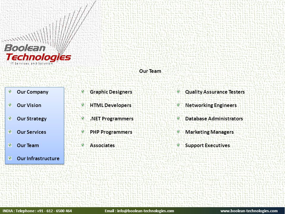 Graphic Designers HTML Developers.NET Programmers PHP Programmers Associates Quality Assurance Testers Networking Engineers Database Administrators Marketing Managers Support Executives INDIA : Telephone : Our Company Our Vision Our Strategy Our Services Our Team Our Infrastructure Our Company Our Vision Our Strategy Our Services Our Team Our Infrastructure Our Team