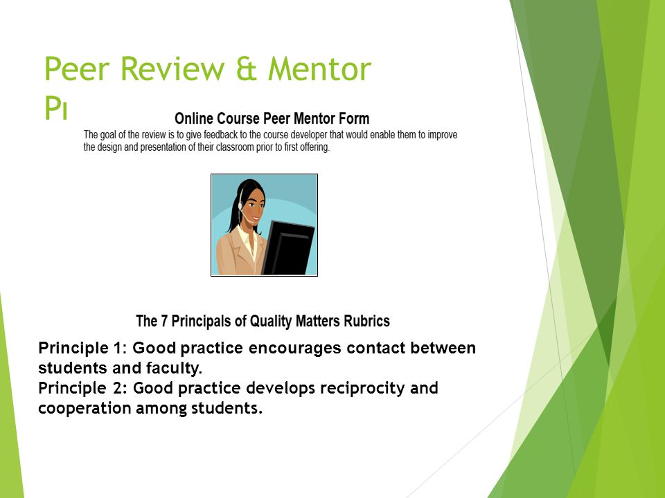 Peer Review & Mentor Program Principle 1: Good practice encourages contact between students and faculty. Principle 2: Good practice develops reciproci