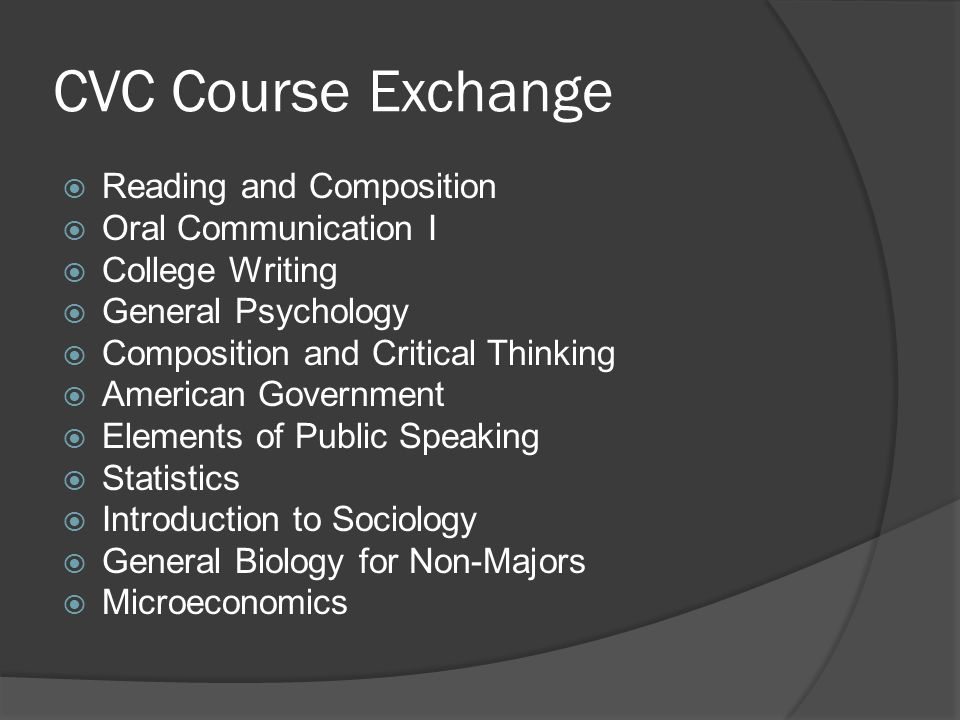 CVC Course Exchange Reading and Composition Oral Communication I College Writing General Psychology Composition and Critical Thinking American Governm