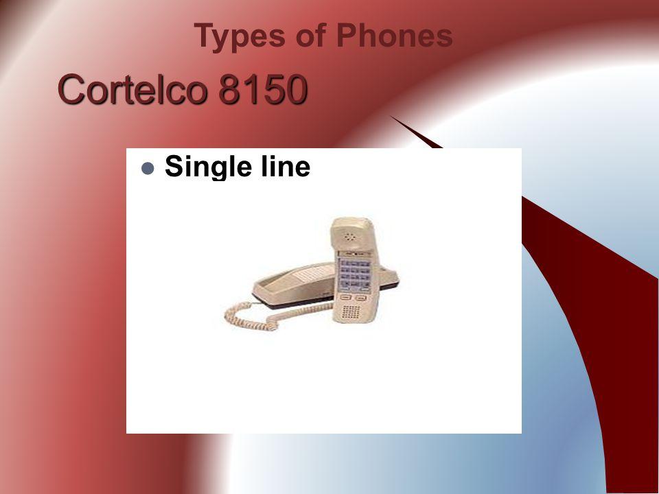 Cortelco 8150 Single line Types of Phones