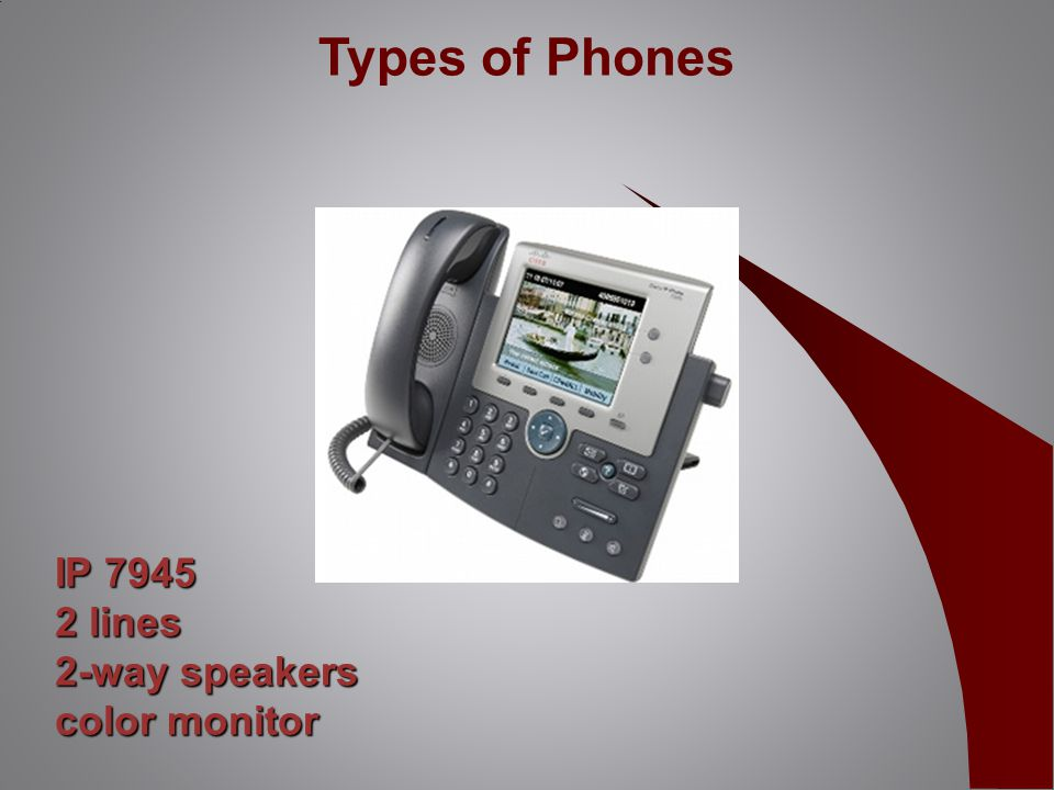 IP 7945 2 lines 2-way speakers color monitor Types of Phones