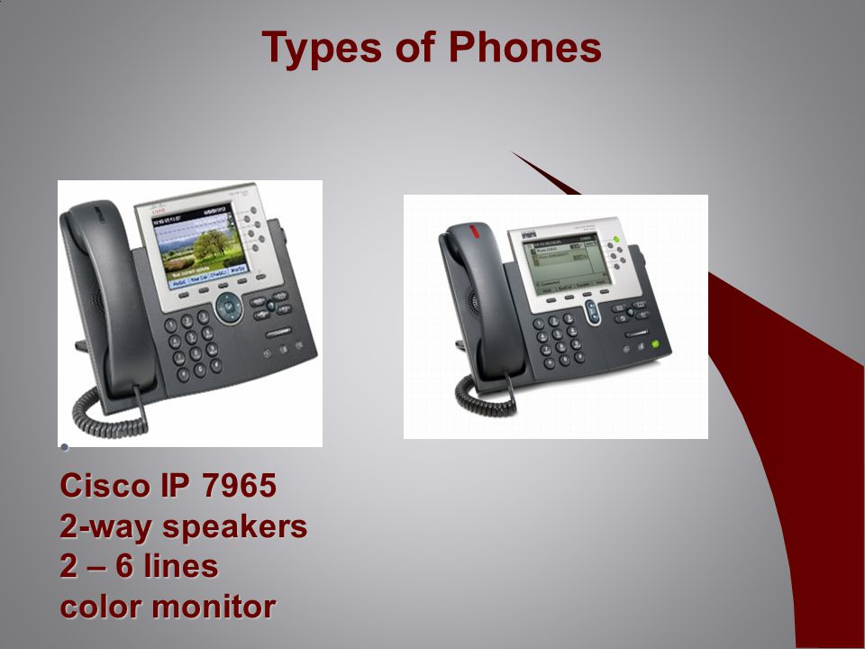 Cisco IP 7965 2-way speakers 2 – 6 lines color monitor Cisco IP 7965 2-way speakers 2 – 6 lines color monitor Types of Phones