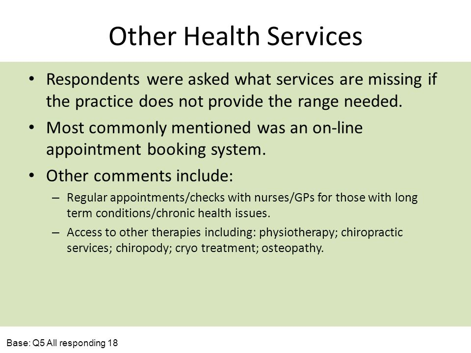 Other Health Services Respondents were asked what services are missing if the practice does not provide the range needed. Most commonly mentioned was
