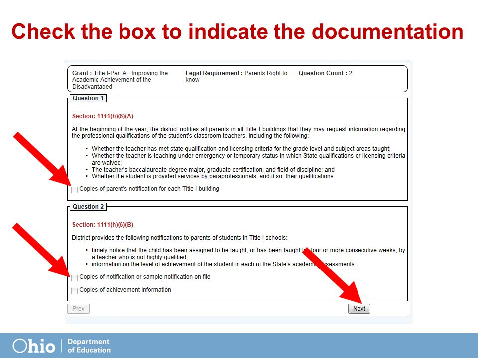 Check the box to indicate the documentation