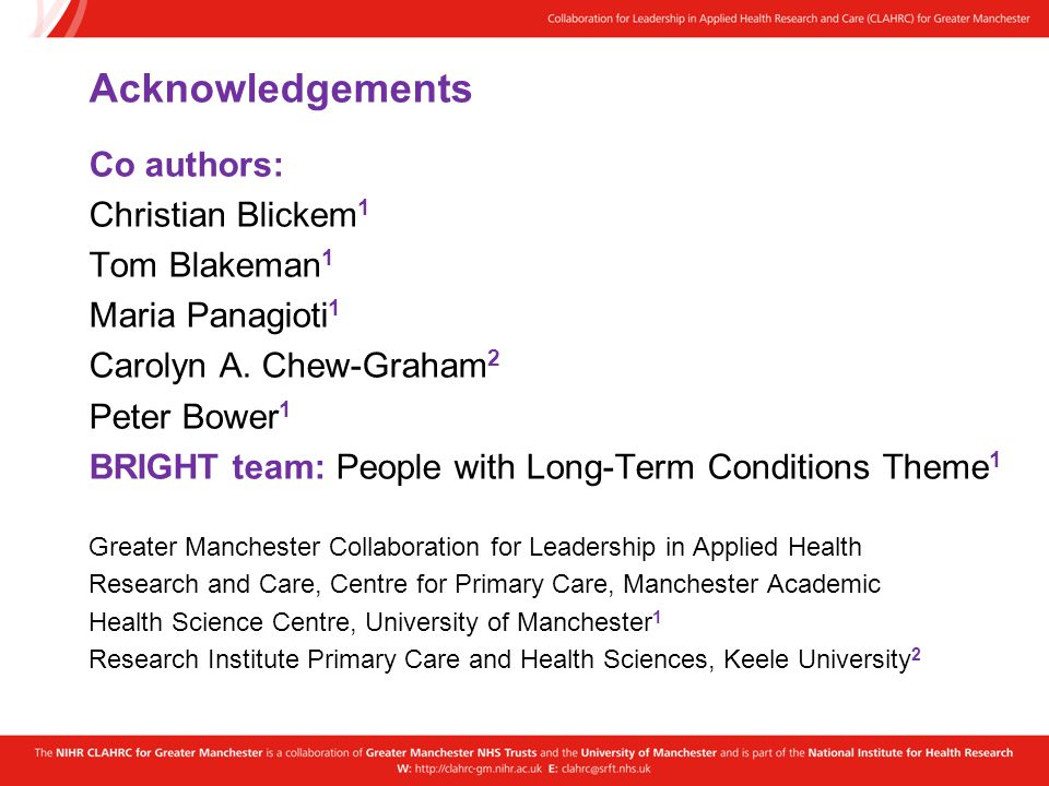Acknowledgements Co authors: Christian Blickem 1 Tom Blakeman 1 Maria Panagioti 1 Carolyn A. Chew-Graham 2 Peter Bower 1 BRIGHT team: People with Long