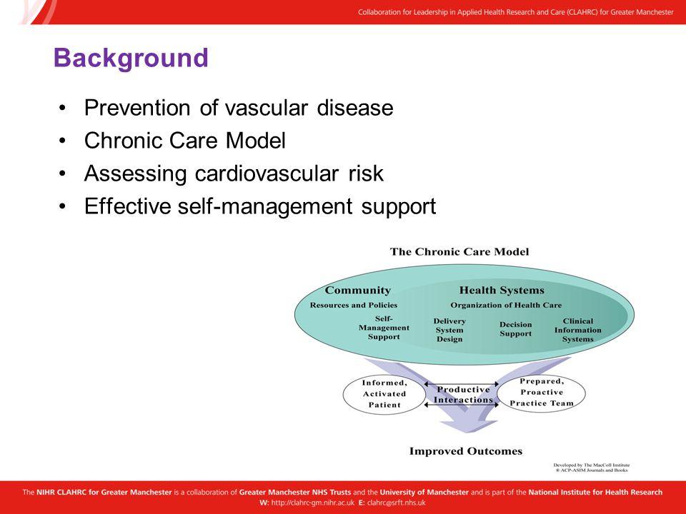 Background Prevention of vascular disease Chronic Care Model Assessing cardiovascular risk Effective self-management support