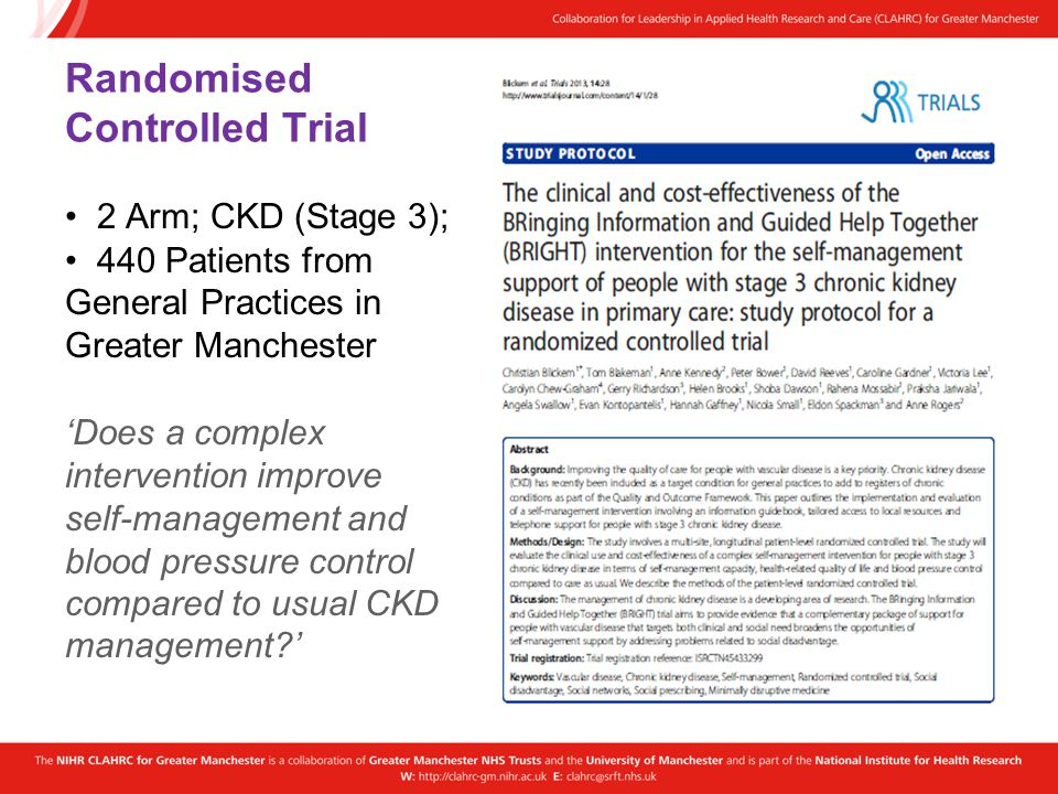 Randomised Controlled Trial 2 Arm; CKD (Stage 3); 440 Patients from General Practices in Greater Manchester Does a complex intervention improve self-m