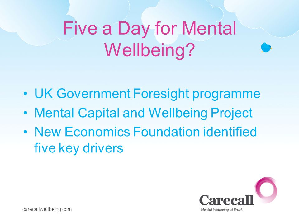 carecallwellbeing.com Five a Day for Mental Wellbeing? UK Government Foresight programme Mental Capital and Wellbeing Project New Economics Foundation