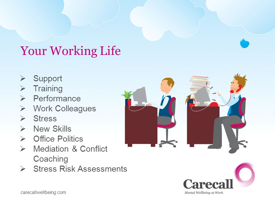 Bereavement Caring for relatives Family frictions Childcare Losing independence Drug & alcohol abuse Personal Crises I ll health Depression & anxiety Discrimination Divorce Your Personal Life carecallwellbeing.com