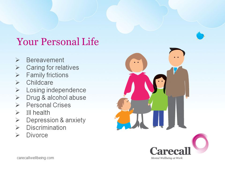 Bereavement Caring for relatives Family frictions Childcare Losing independence Drug & alcohol abuse Personal Crises I ll health Depression & anxiety