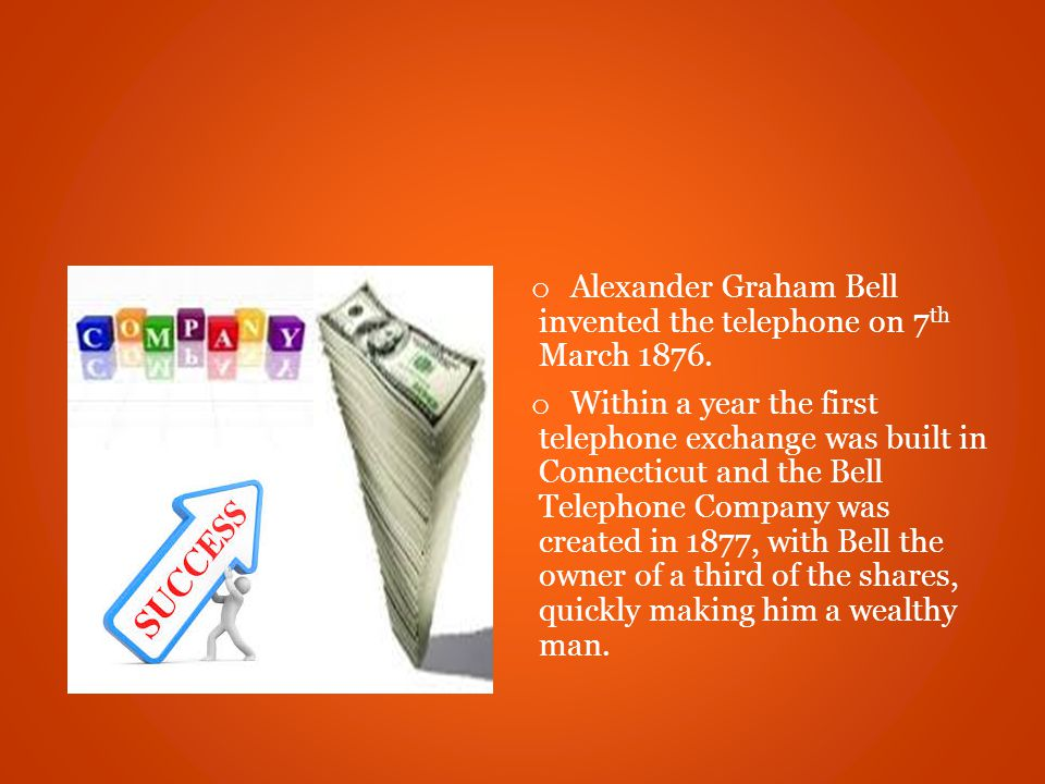 o Alexander Graham Bell invented the telephone on 7 th March 1876.