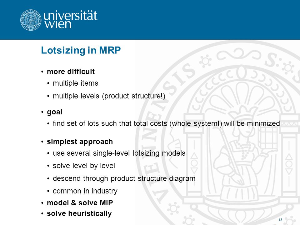 Lotsizing in MRP more difficult multiple items multiple levels (product structure!) goal find set of lots such that total costs (whole system!) will b