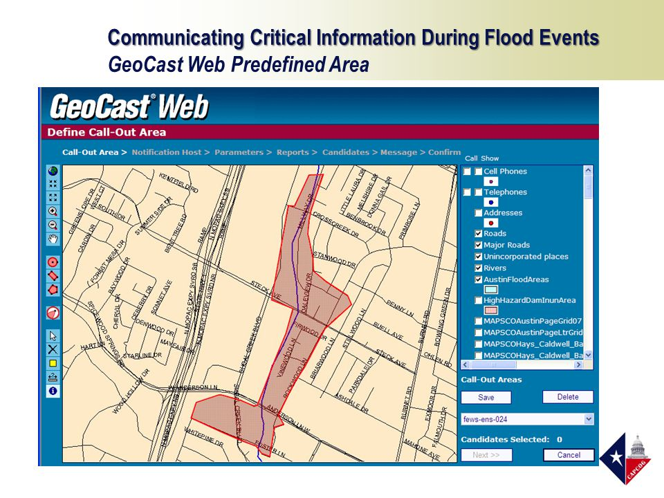 Communicating Critical Information During Flood Events GeoCast Web Predefined Area
