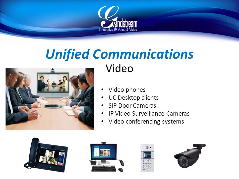 Unified Communications Video Video phones UC Desktop clients SIP Door Cameras IP Video Surveillance Cameras Video conferencing systems