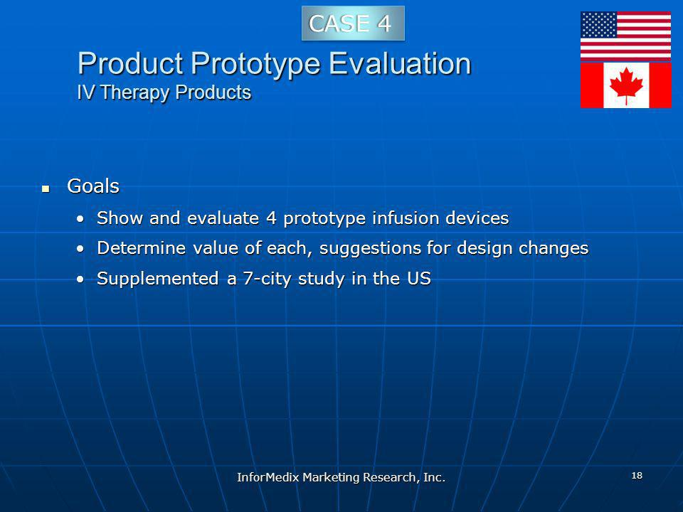 Product Prototype Evaluation IV Therapy Products Goals Goals Show and evaluate 4 prototype infusion devicesShow and evaluate 4 prototype infusion devices Determine value of each, suggestions for design changesDetermine value of each, suggestions for design changes Supplemented a 7-city study in the USSupplemented a 7-city study in the US InforMedix Marketing Research, Inc.
