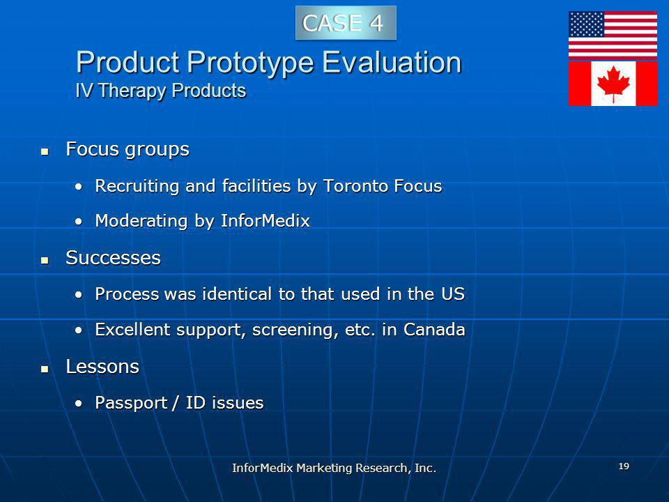 Product Prototype Evaluation IV Therapy Products Focus groups Focus groups Recruiting and facilities by Toronto FocusRecruiting and facilities by Toronto Focus Moderating by InforMedixModerating by InforMedix Successes Successes Process was identical to that used in the USProcess was identical to that used in the US Excellent support, screening, etc.