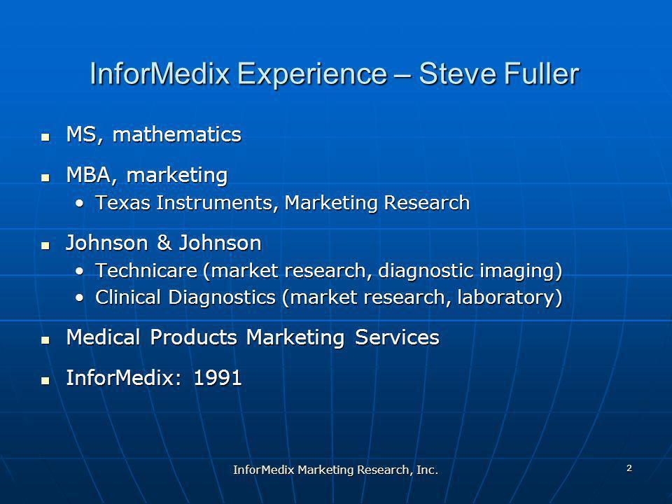 InforMedix Experience – Steve Fuller MS, mathematics MS, mathematics MBA, marketing MBA, marketing Texas Instruments, Marketing ResearchTexas Instrume