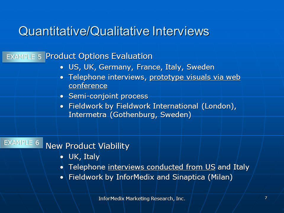 Quantitative/Qualitative Interviews Product Options Evaluation US, UK, Germany, France, Italy, SwedenUS, UK, Germany, France, Italy, Sweden Telephone interviews, prototype visuals via web conferenceTelephone interviews, prototype visuals via web conference Semi-conjoint processSemi-conjoint process Fieldwork by Fieldwork International (London), Intermetra (Gothenburg, Sweden)Fieldwork by Fieldwork International (London), Intermetra (Gothenburg, Sweden) New Product Viability UK, ItalyUK, Italy Telephone interviews conducted from US and ItalyTelephone interviews conducted from US and Italy Fieldwork by InforMedix and Sinaptica (Milan)Fieldwork by InforMedix and Sinaptica (Milan) InforMedix Marketing Research, Inc.