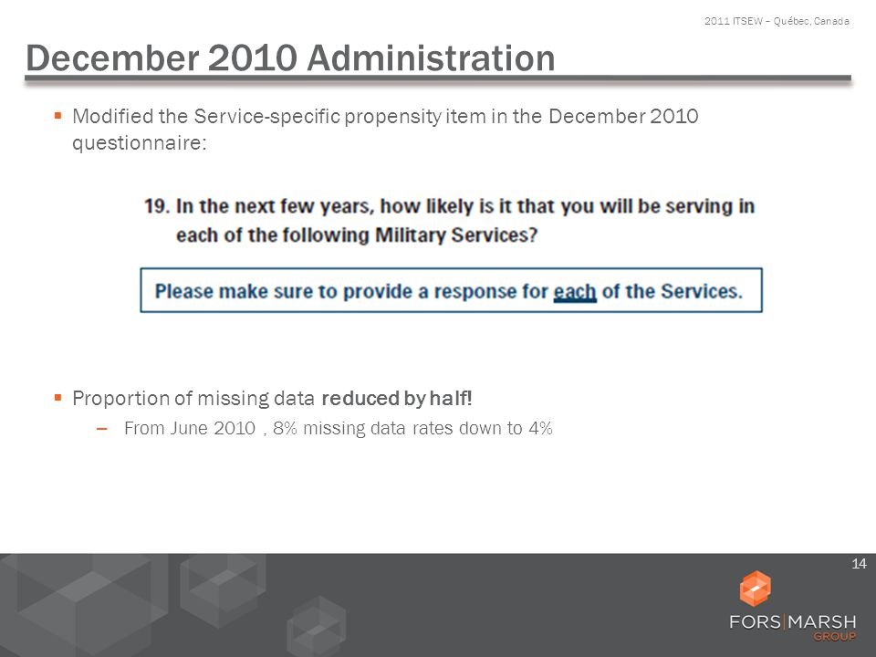 December 2010 Administration Modified the Service-specific propensity item in the December 2010 questionnaire: Proportion of missing data reduced by h