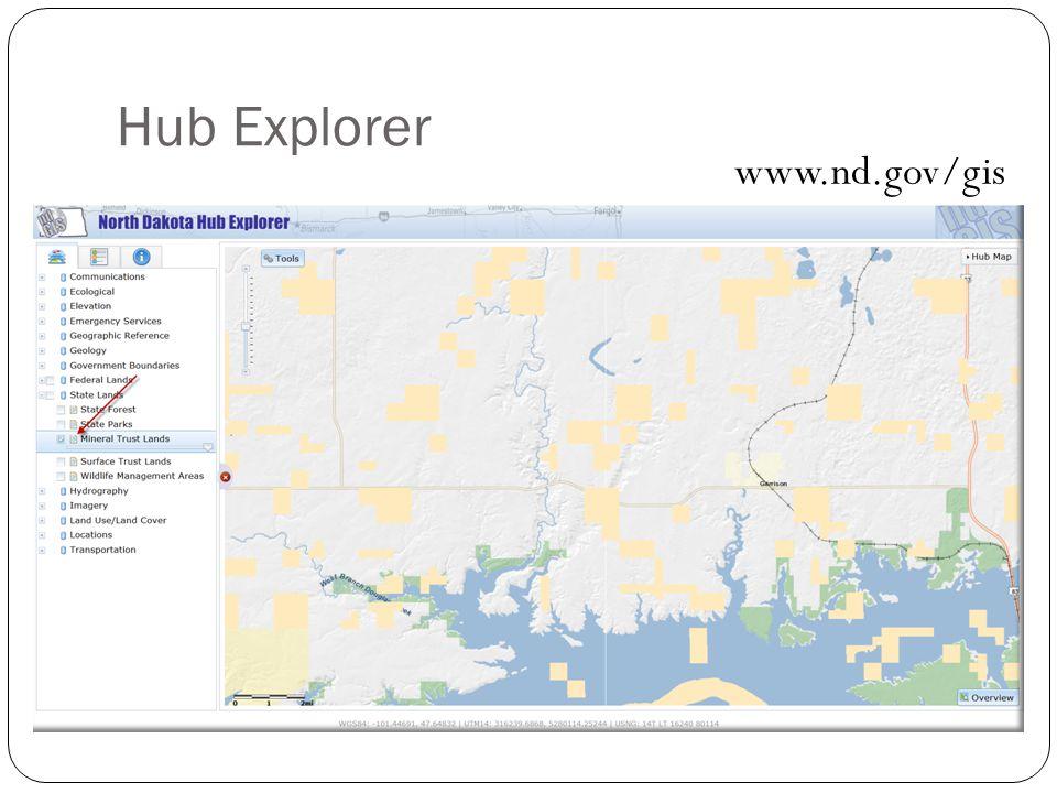 27 Hub Explorer www.nd.gov/gis