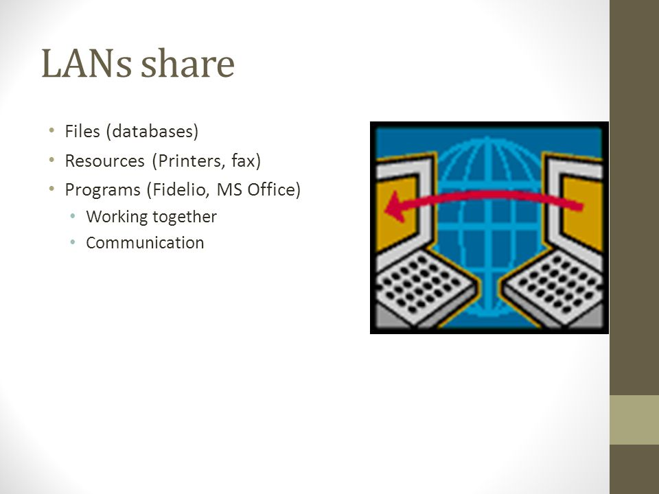 LANs share Files (databases) Resources (Printers, fax) Programs (Fidelio, MS Office) Working together Communication