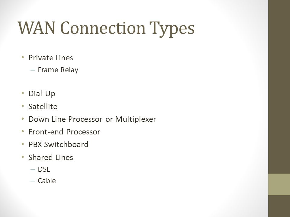 WAN Connection Types Private Lines – Frame Relay Dial-Up Satellite Down Line Processor or Multiplexer Front-end Processor PBX Switchboard Shared Lines