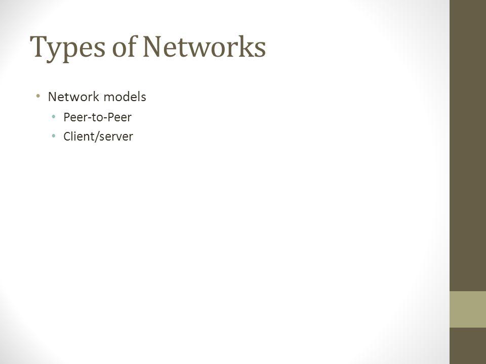 Types of Networks Network models Peer-to-Peer Client/server