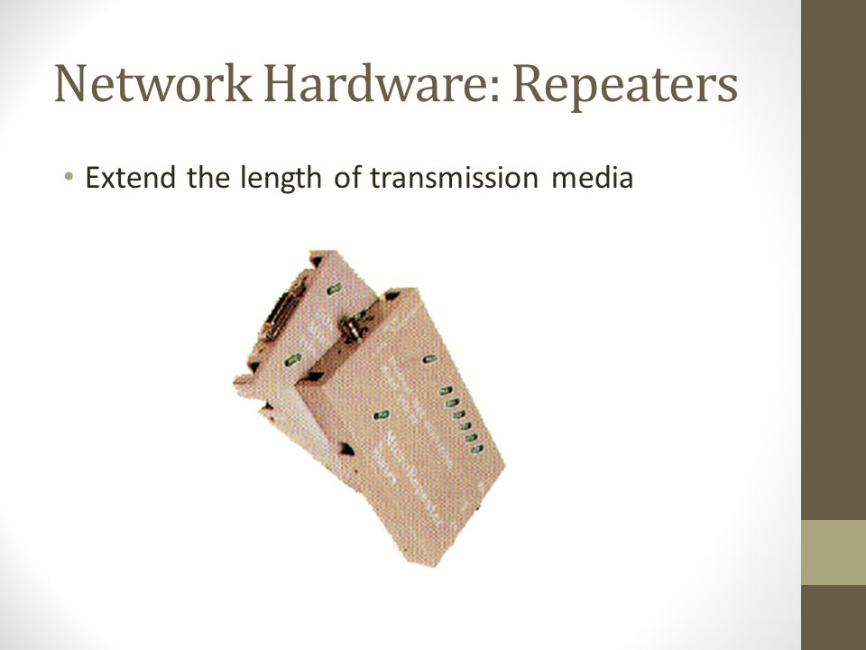 Network Hardware: Repeaters Extend the length of transmission media