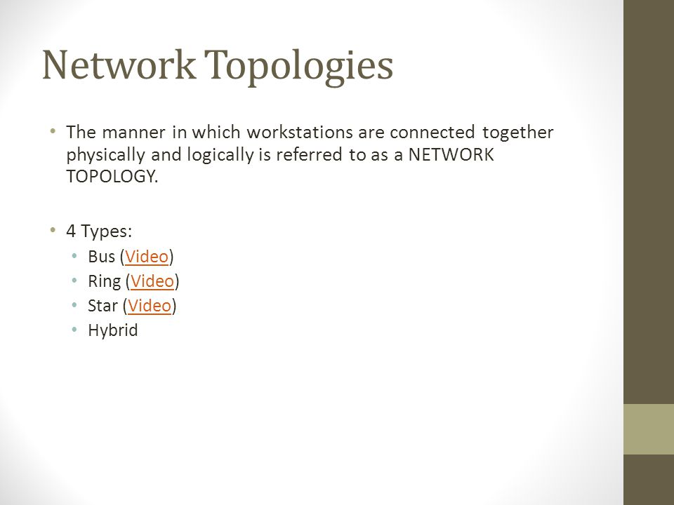 Network Topologies The manner in which workstations are connected together physically and logically is referred to as a NETWORK TOPOLOGY. 4 Types: Bus