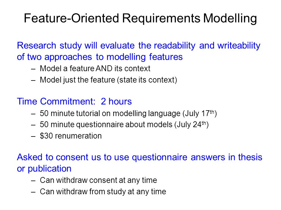 FORML: A Feature-Oriented Requirements Modelling Language World Model Behaviour Model feature modules events & conditions actions
