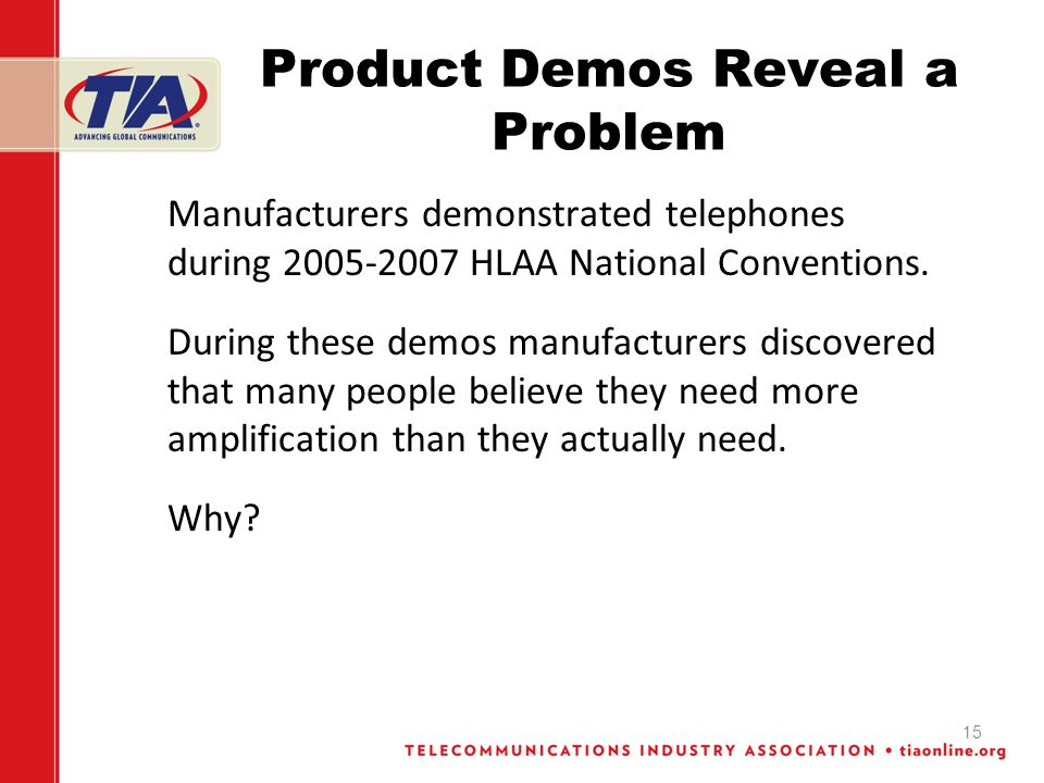 15 Product Demos Reveal a Problem Manufacturers demonstrated telephones during 2005-2007 HLAA National Conventions.