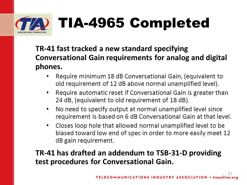 TIA-4965 Completed TR-41 fast tracked a new standard specifying Conversational Gain requirements for analog and digital phones. Require minimum 18 dB
