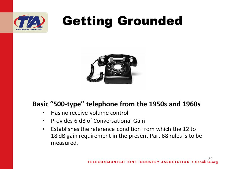 Getting Grounded Basic 500-type telephone from the 1950s and 1960s Has no receive volume control Provides 6 dB of Conversational Gain Establishes the