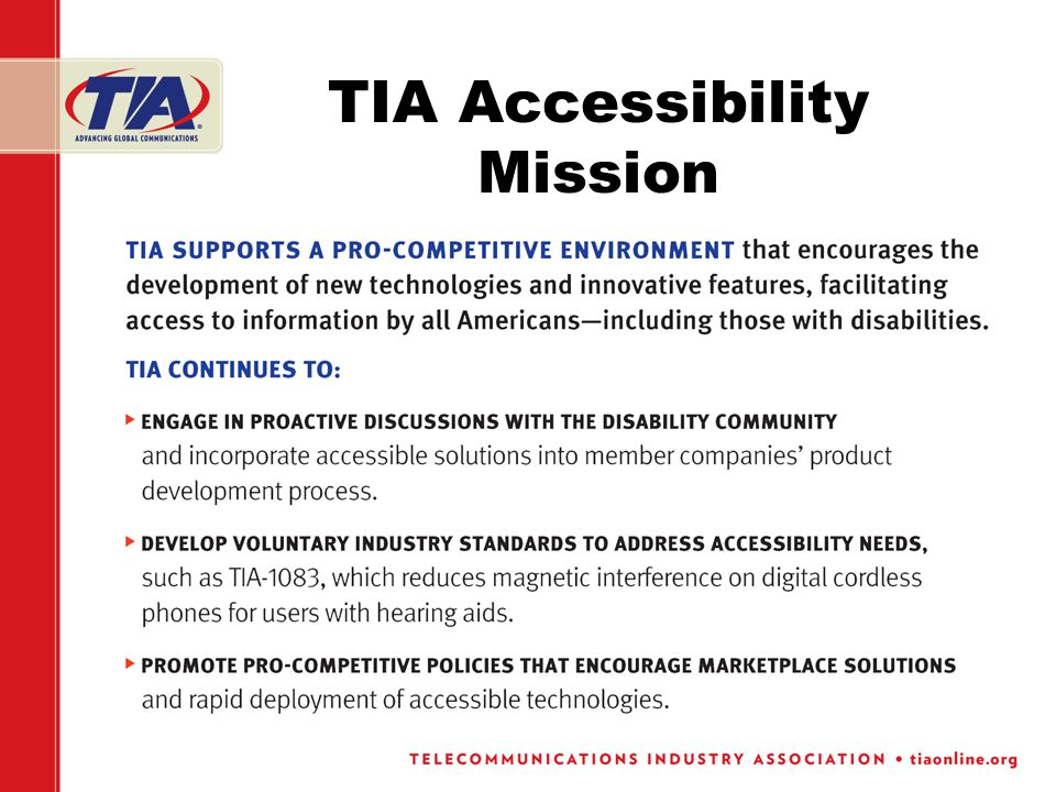TIA Accessibility Mission
