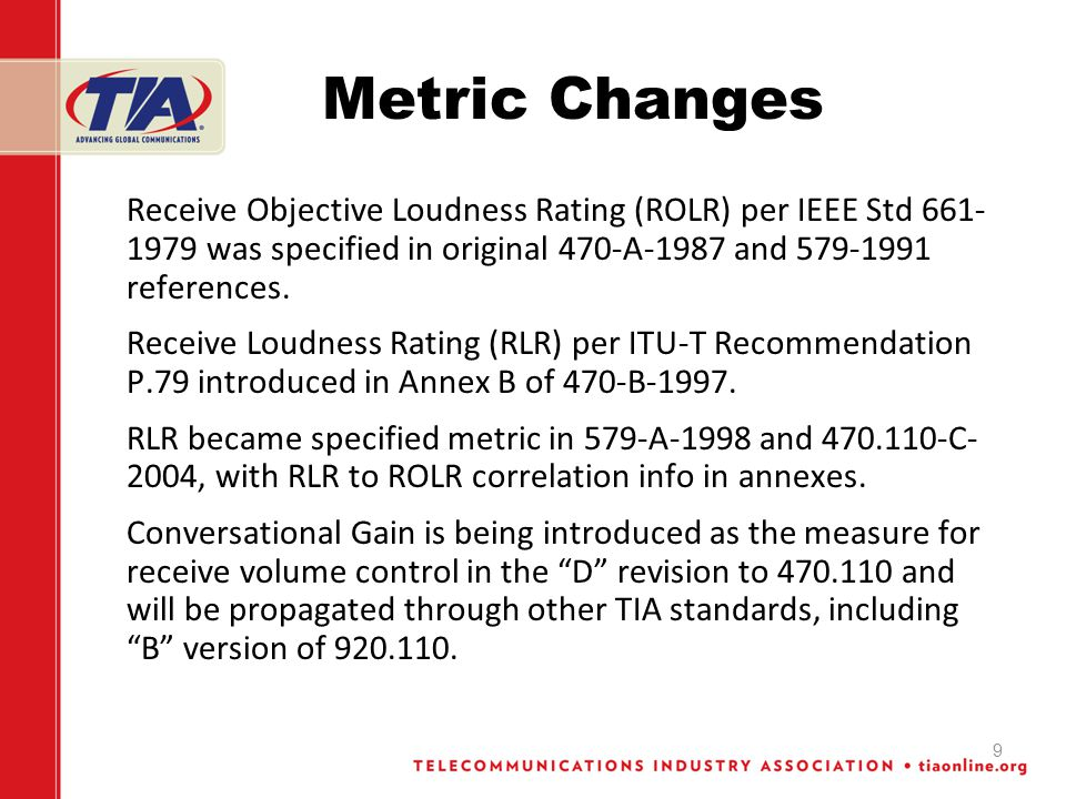 Metric Changes Receive Objective Loudness Rating (ROLR) per IEEE Std 661- 1979 was specified in original 470-A-1987 and 579-1991 references. Receive L