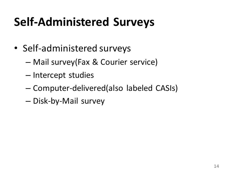 Self-Administered Surveys Self-administered surveys – Mail survey(Fax & Courier service) – Intercept studies – Computer-delivered(also labeled CASIs)
