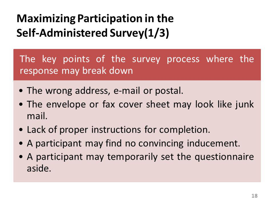Maximizing Participation in the Self-Administered Survey(1/3) The key points of the survey process where the response may break down The wrong address