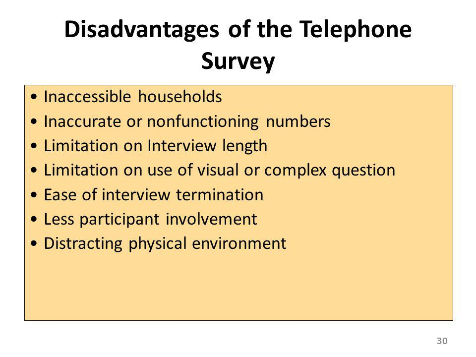 Disadvantages of the Telephone Survey Inaccessible households Inaccurate or nonfunctioning numbers Limitation on Interview length Limitation on use of
