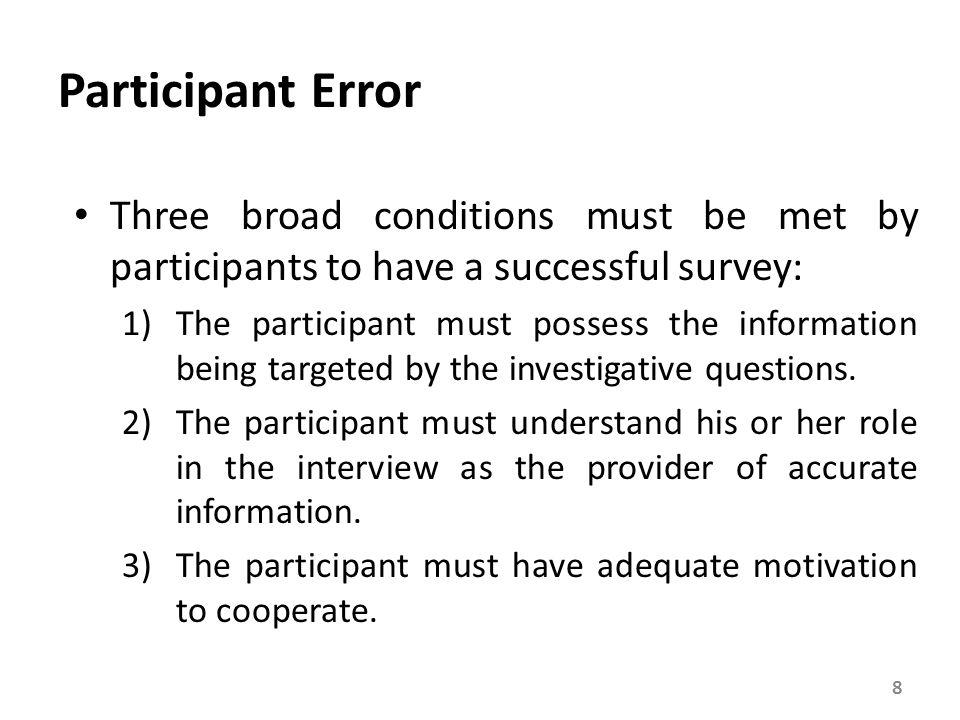 Participant Error Three broad conditions must be met by participants to have a successful survey: 1)The participant must possess the information being