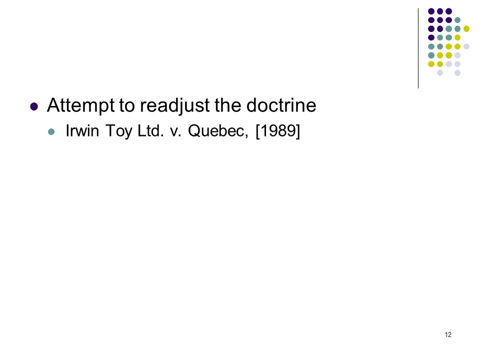 12 Attempt to readjust the doctrine Irwin Toy Ltd. v. Quebec, [1989] 12