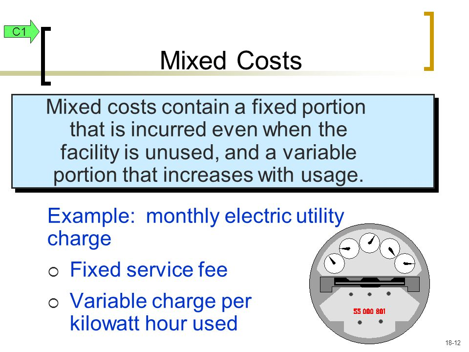 Mixed costs contain a fixed portion that is incurred even when the facility is unused, and a variable portion that increases with usage.