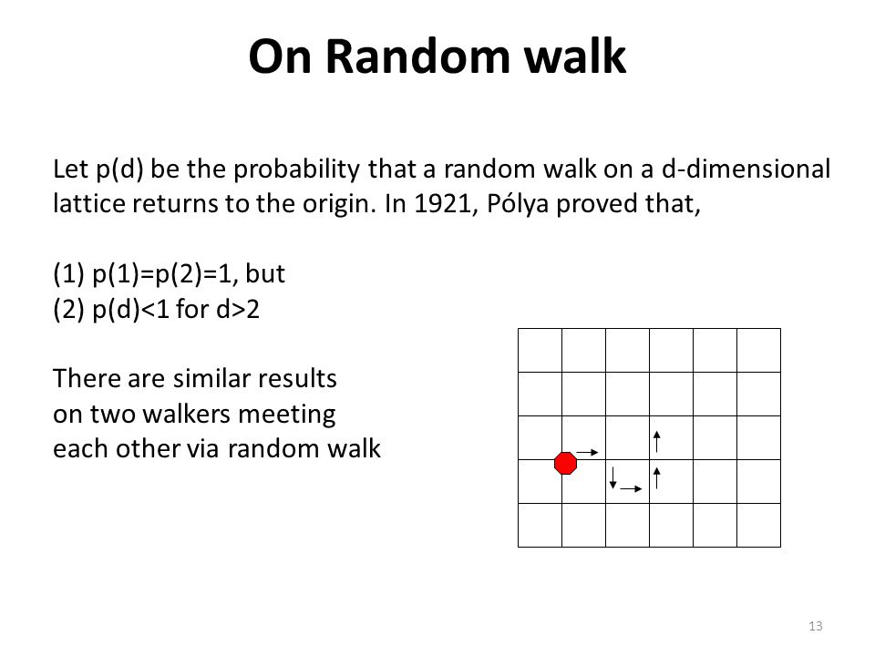13 On Random walk Let p(d) be the probability that a random walk on a d-dimensional lattice returns to the origin. In 1921, Pólya proved that, (1) p(1