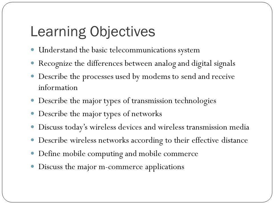 Learning Objectives Understand the basic telecommunications system Recognize the differences between analog and digital signals Describe the processes