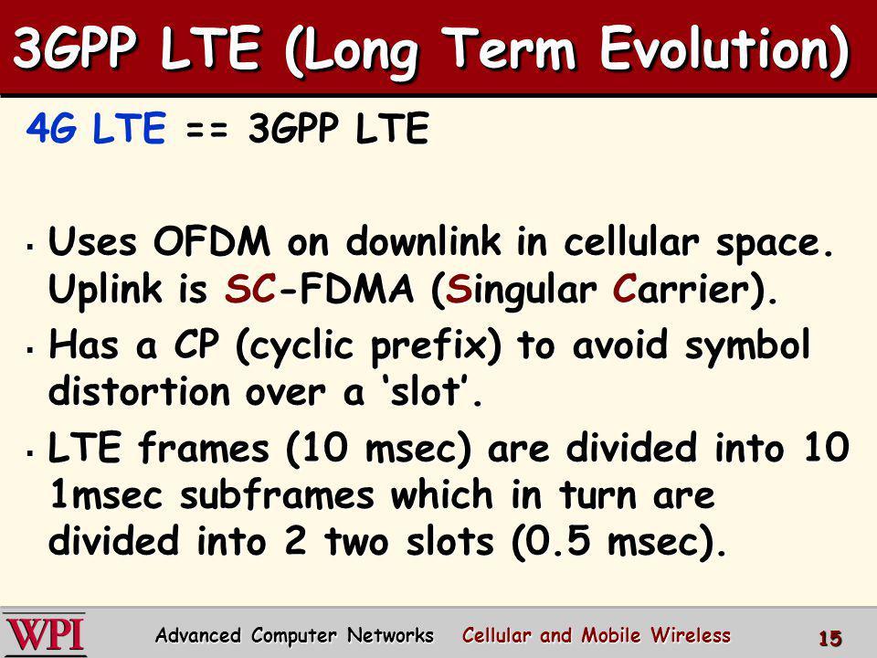 3GPP LTE (Long Term Evolution) 4G LTE == 3GPP LTE Uses OFDM on downlink in cellular space. Uplink is SC-FDMA (Singular Carrier). Uses OFDM on downlink