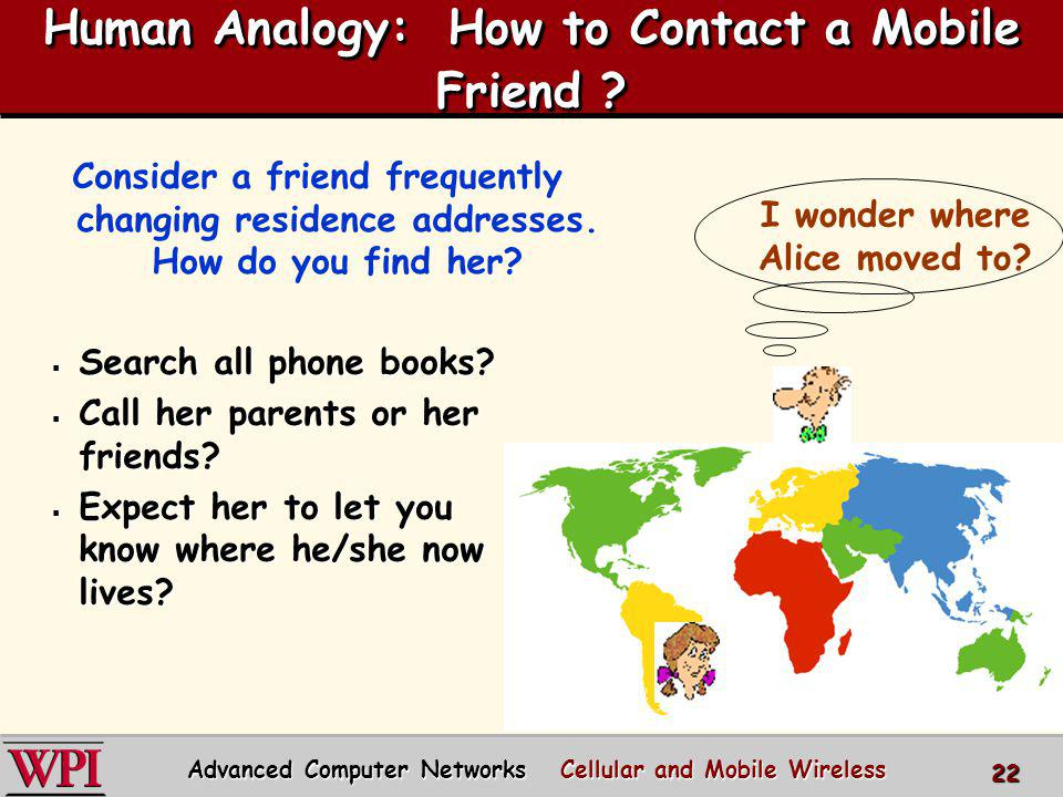 Human Analogy: How to Contact a Mobile Friend ? Search all phone books? Search all phone books? Call her parents or her friends? Call her parents or h